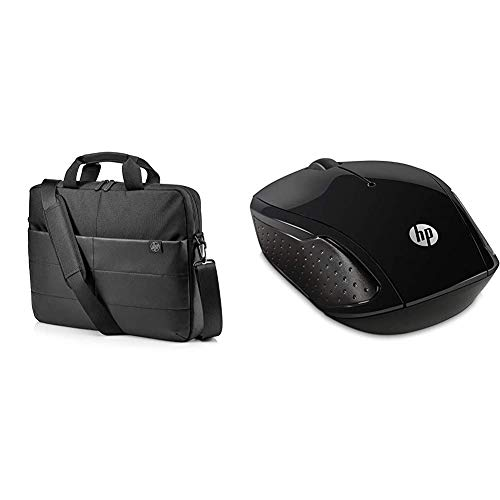 HP Classic 15.6 Inch (39.6 cm) Black Briefcase TopLoad Messenger Bag & 200 Black 2.4 GHz USB Wireless Mouse with Red LED 1000 DPI Optical Sensor, Up to 12 Months Battery Life