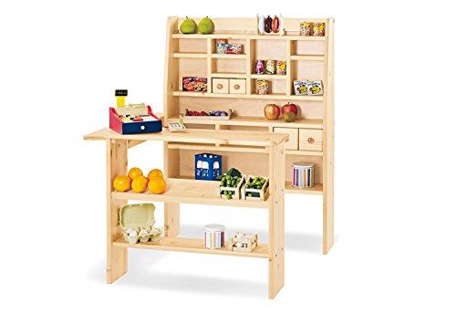 Pinolino Kaufladen Kimo, aus massivem Holz, besonders standfest, mit 4 Schubladen, für Kinder ab 2 Jahren, klar lackiert