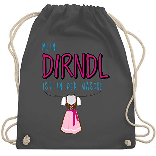 Shirtracer Kompatibel mit Oktoberfest Kinder Trachtenshirt - Mein Dirndl ist in der Wäsche - Unisize - Dunkelgrau - turnbeutel damen schwarz -...
