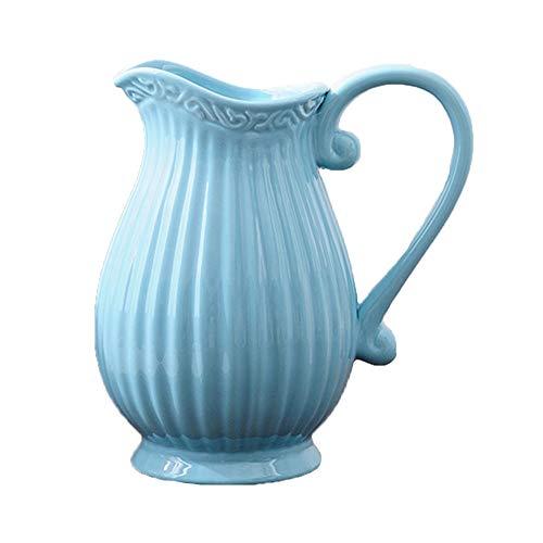 Romántica jarra de leche azul que se utiliza para el café de limonada de agua, jarrón decorativo artístico de la creatividad moderna (color: azul, tamaño: 20 x 10 cm)