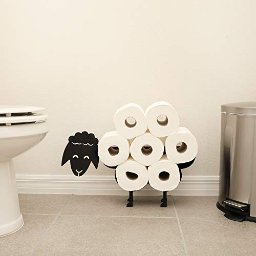 Sheep Toilet Paper Holder V3 7 Roll Capacity Self Standing and Wall Mount