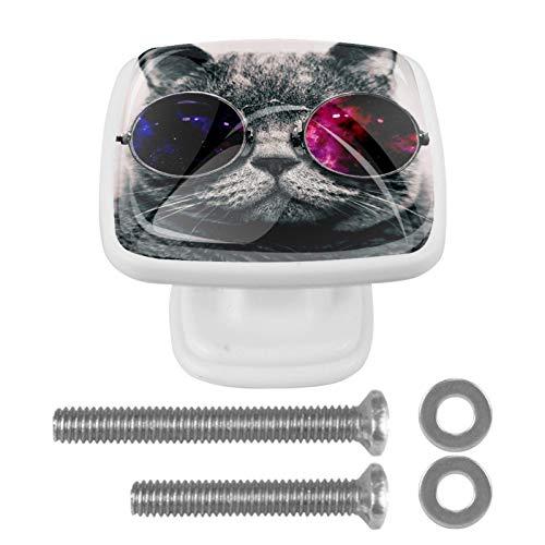Cuadrado Perillas de la puerta del gabinete Gafas de sol de gato Tiradores y herrajes para cajones para armarios de vidrio con diseño multicolor (4 paquetes) 3x2.1x2 cm