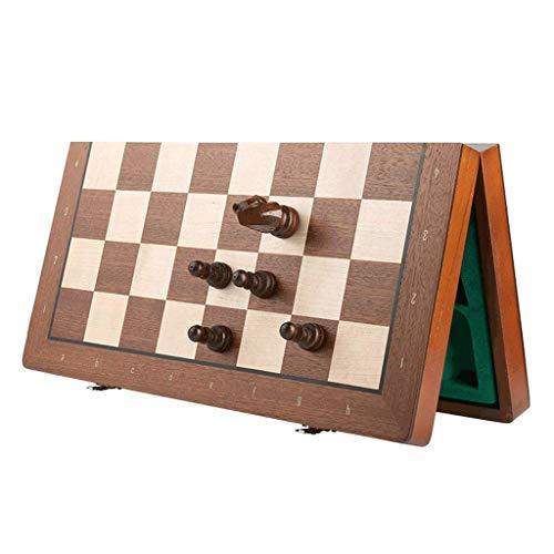Yxxc Ajedrez Juego de ajedrez de Madera Plegable con Piezas de ajedrez de Madera, Juego de Tablero de ajedrez con Ranuras de Almacenamiento, Juego de ajedr