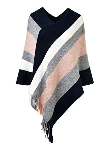 Ferand Gestreift Gestrickter Poncho Schal im Wickeldesign mit gefransten Seiten für Frauen, Navy blau & Rosa
