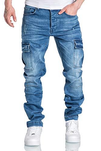Amaci&Sons Herren Cargo Jeans Regular Slim Denim Hose Destroyed 7985 Hellblau W34/L34