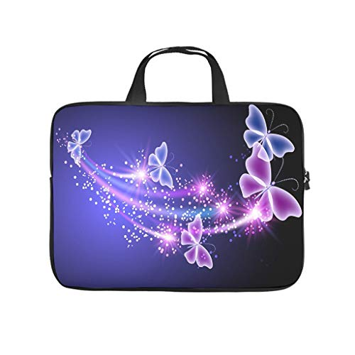 Purple Magic Butterfly Laptop Bag Scratch-Resistant Laptop Briefcase Design Notebook Bag for University Work Business