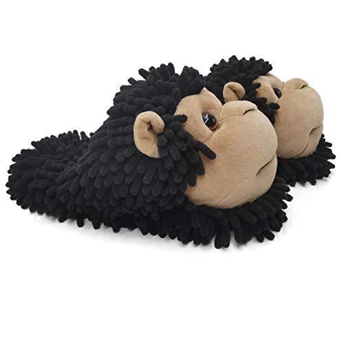 ofoot Pantuflas de Invierno para Mujer cálidas para Padres e Hijos Koala Zorro Búho Gato León Gorila Conejito Suela de Goma con Pinzas Antideslizantes duraderas para Animales Lindos