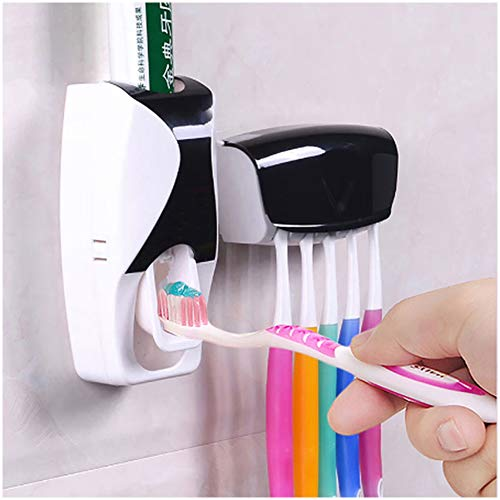 Toothbrush Holder with Cover Automatic Toothpaste Dispenser Set Dustproof with 3M Sticky Suction Pad...