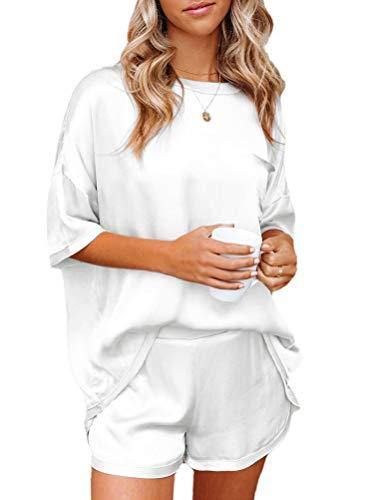 Minetom Pijamas para Mujer Verano Corto Ropa de Dormir de Satín Manga Corta Shirt Camiseta y Pantalones Cortos Dos Piezas Blanco 40