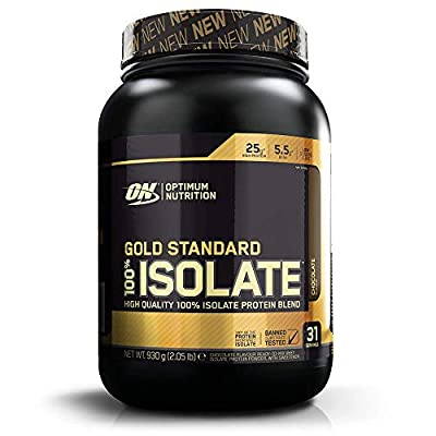 Optimum Nutrition Gold Standard 100 Percent Isolate Whey Protein Powder with BCAAs and Glutamine, Chocolate, 31 Servings, 930 g