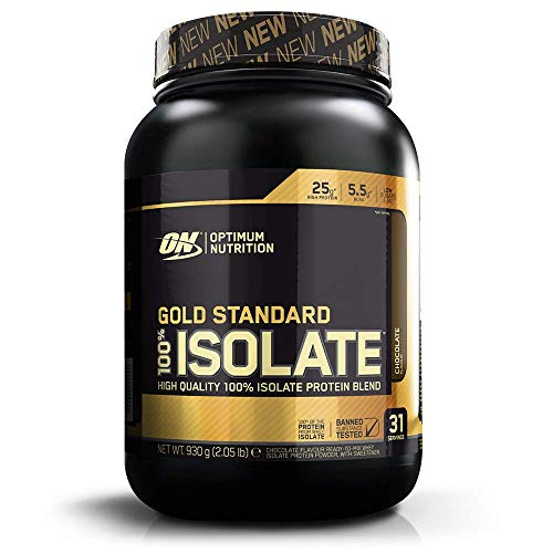 Optimum Nutrition ON Gold Standard 100% Isolate Whey Protein, High Protein Powder with Naturally Occurring BCAAs and Glutamine for Muscle Growth and Support, Chocolate, 31 Servings, 930 g