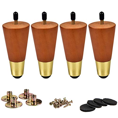 6 inch / 15cm Wooden Furniture Legs, La Vane 4Pcs Walnut Solid Wood Tapered M8 Furniture Replacement Feet with Pre-Drilled 5/16 inch Bolt & Brass Base & Mounting Plate & Screws for Sofa Bed Ottoman