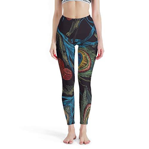 Dofeely Dames Kleurrijke pauw veer patroon yogabroek broek Quick-Dry ademende leggings lang sport joggingbroek Skinny Leg rood