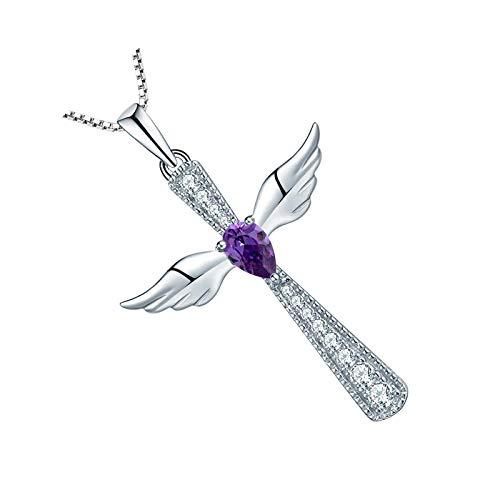 Collar de plata de ley 925 con diseño de alas de ángel, piedra natal de febrero, amatista, regalo para niñas