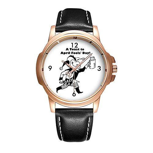 Personality Mode wasserdichte Herren-Armbanduhr Analoges Quarzlederband Mit Gold-551.A Toast to April Fools' Day Jester Cartoon Wristwatches