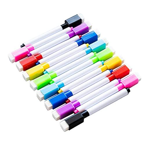 Staright 8 rotuladores de borrado en seco con tapa de goma de borrar en casa, oficina, aula, portátil, sin olor, para cristal, pizarra, plástico, porcelana