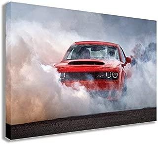 "XINGAKA 2018 Dodge Challenger SRT Demon American Muscle CAR Burnout Canvas (44"" X 26"" / 110 X 65cm)"