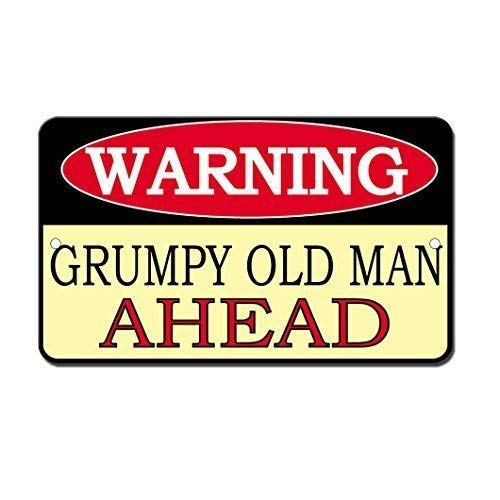 None Branded Tin Sign Warning Sign Grumpy Old Man Ahead Room Metal Poster Wall Decor
