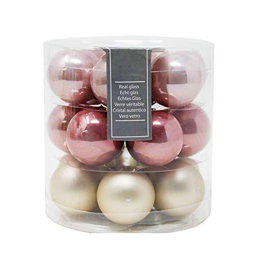 ToCi - Mini palline in vetro per albero di Natale - Set da 18 palline con diametro di 3 cm - In colori assortiti, con finitura lucida e opaca Rosa/oro.