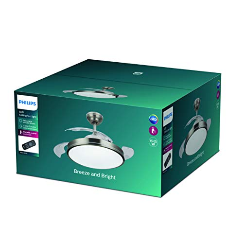 Philips Lighting Atlas Lampada LED da Soffitto con Ventilatore, Telecomando Incluso, Nichel 35 W, 106x43cm