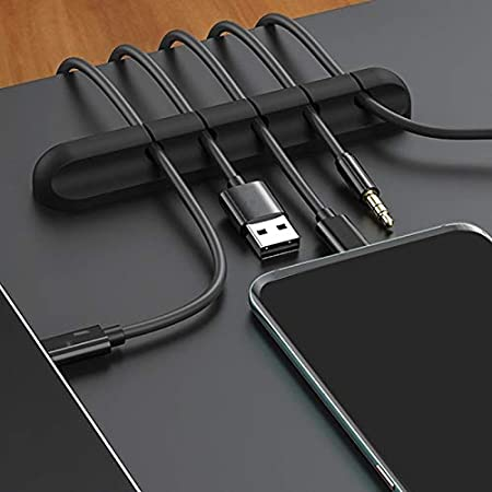 2PCS//Lot Desktop Charging USB Data Cable Organizer 5-Port Silicone Flexible Cable Management Clips Wire Cable Holder Lysee Data Cables Color: Black