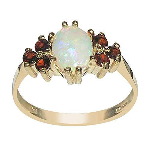 9ct Yellow Gold Ladies Fiery Opal & Garnet Ring - Size M