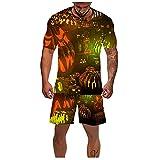 Halloween Pumpkin Shorts and Shirt for Men Rugrats Shirt and Shorts Set Sport Cool Summer Surf Beach Pool Tee Shirts Boy (06 Multicolor, M)