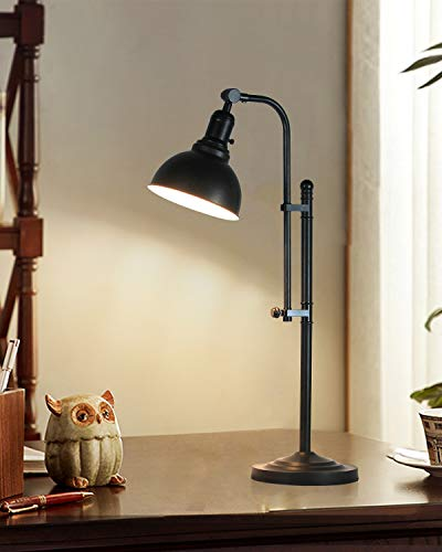 Metal Desk Lamp Black Adjustable, Industrial Style Lamp with On/Off Switch, Vintage Work Lamp, Multi-Joint, Lamp for Bedroom, Study Room &Office, ETL Certificate.