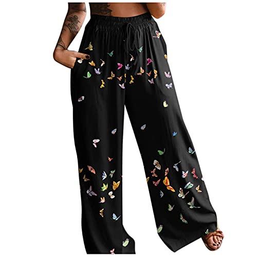 Pantalon Femme été Décontracté Bohème Pantalons Large Jambe à Poches Boho Taille Haute Pantalon Fluide Grande Taille Causal Ample Élastique Long Pantalon de Yoga Gym Jogging Imprimé Fleurs pour Femmes