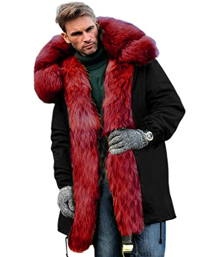 Aofur Mens Winter Warm Thick Faux Fur Slim Trench Coat Long Jacket Parka Hooded Pea Coat Winter Coat S-XXXL (XX-Large, Black Red)