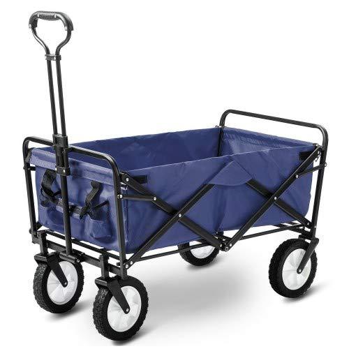 Flieks Bollerwagen Faltbar Handwagen, Transportwagen Klappbar Gartenwagen 360 ¡ã drehbar Picknickwagen Strandwagen belastbar bis 150kg (Blau)