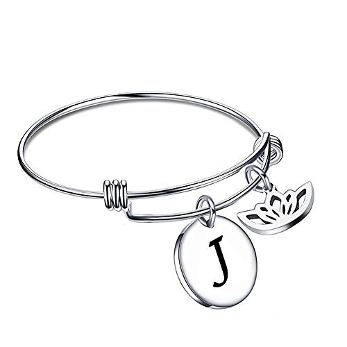 PoeticCharms Damen Initiale Alphabet Armband Edelstahl Buchstabe Personalisierter Disc erweiterbar Armreif Schmuck/J