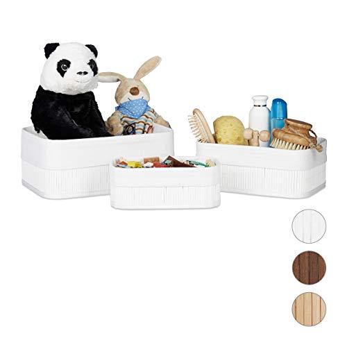 Relaxdays Aufbewahrungskorb 3er Set, Stoffbezug, Bambus, rechteckig, Bad, Accessoires, Spielzeug, Allzweckkorb, weiß