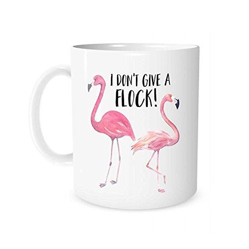 The Coffee Corner - I Don't Give A Flock - 11 Ounce White Ceramic Tea Cup - Flamingo Mug, Flamingo Gift, Funny Pun Mug