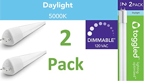 TOGGLED D416-50321-2 D 4 ft. (Dimmable-Series) 120 VAC, T8/T12 Direct-Wire LED Tube, Daylight (5000K)