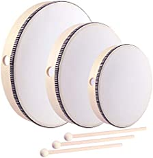 HiGift 3 Pack Hand Drums Kids Percussion Wood Frame Drum with Wooden Drum Beater-12 Inch & 10 Inch & 8 Inch
