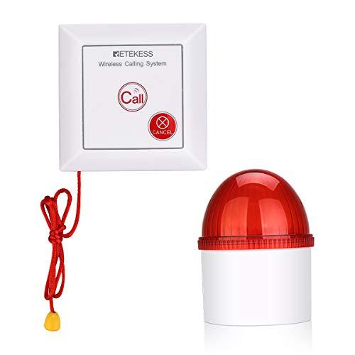 Retekess TH103 Sistema de Alarma, Sonido y Luz Sistema de Llamada, Botón de Llamada Impermeable IP54 con Cuerda SOS para Pacientes Ancianos, Hogar Personal (1 Botón + 1 Receptor)