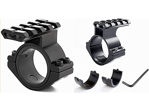 Megwoll 1 inch & 1.18 inch Scope Adapter Ring Mount with Picatinny Weaver Rail for Hunting Black 2pack