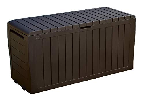 Keter Marvel Plus 71 Gallon Resin Outdoor Storage Box for Patio Furniture Cushion Storage, Brown