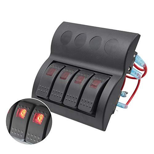 HKRSTSXJ 12V-24V 4 cuadrilla del Coche del Barco RV Circuito LED Toggle Interruptor oscilante del Panel del voltímetro del Interruptor con fusibles Doble USB Compatible with Coches RV