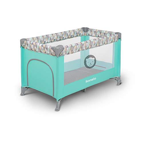 Lionelo Adriaa Baby Bett Laufstall Baby Reisebett Baby ab Geburt bis 15kg Seiteneingang Lockguard System und Blockade der Räder Moskitonetz Tragetasche zusammenklappbar (Türkis) - 5
