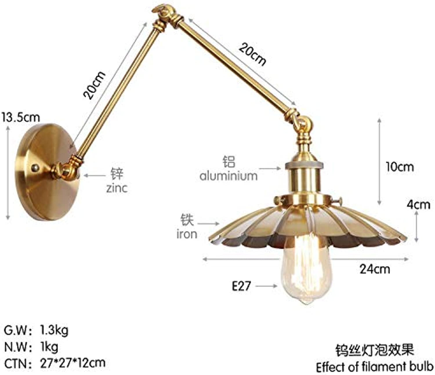 Mao&Long Mini-Stil Retro Vintage Country Traditional Classic Swing Arm Lichter Metall Wandleuchte 85-240V 40W, C, 20 + 20cm