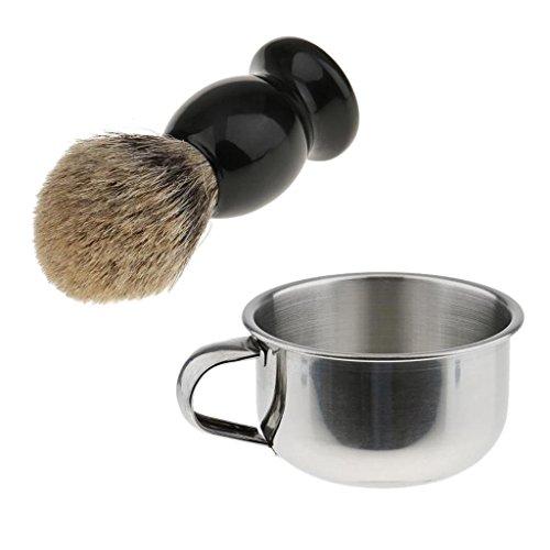 Pro Peluquero Salón Brocha Afeitado Jabón Crema +Taza Tazón de Barbero de Acero Inoxidable Accesorios de Afeitar de Hombres