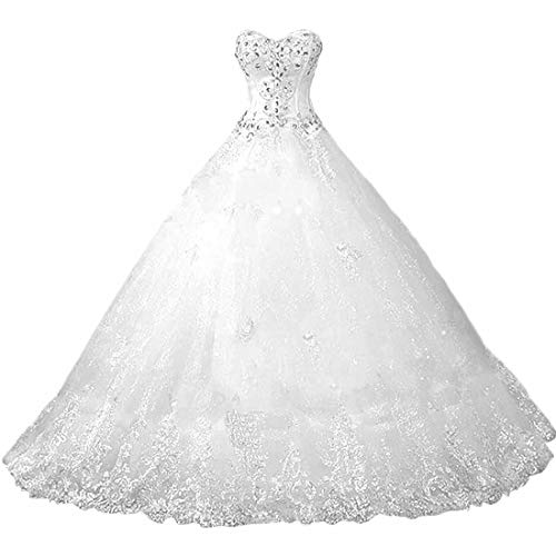 Chady Sweetheart Lace Rhinestone Plus Size Wedding Dresses Ball Gowns 2021 Court Train Wedding Gowns Tulle Bridal Dress White (Apparel)