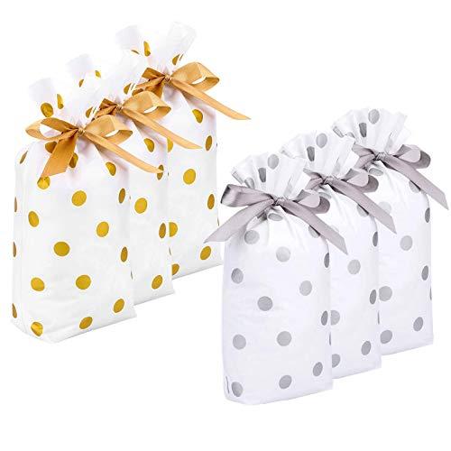 JieGuanG Bolsas de Regalo de plástico con cordón, 30 Bolsas de Regalo Bolsas de Regalo de Fiesta utilizadas para empaquetar y almacenar Dulces, Galletas (Dorado Claro y Plateado, 23 * 15 * 6 cm)