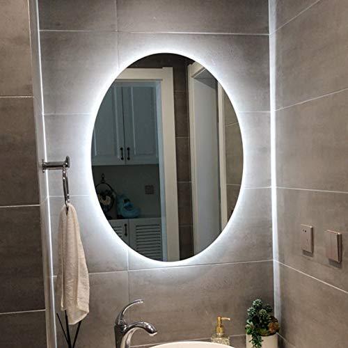 DELM Espejo de baño Inteligente Espejo Ovalado Iluminado por LED Espejo de Maquillaje HD sin Marco Accesorios de baño Espejo de Luz Cálido/Blanco con antivaho