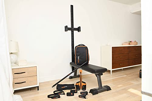MAXPRO Elite Bundle | Complete Gym: SmartConnect, Slimline Wall Track, Foldable Bench, Backpack, Suspension Handles, Jump Belt & More | Up to 300lbs Resistance for Full Body Cable Workout