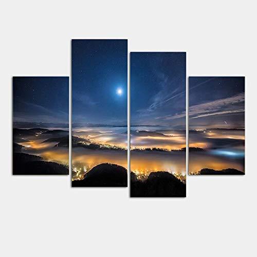 WSNDGWS Hd Inkjet Vier Spells Galaxy Starry Nacht Landschap Decoratie Schilderij Over Thuis Studie Kamer Vergaderzaal Craft Schilderen Geen Beeld Frame 30x60x2 30x80x2 D2