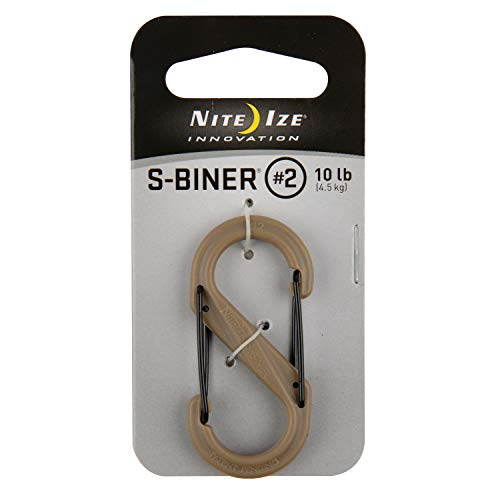 Nite Ize S-Biner Size-2 Dual Carabiner, Strong, Glass-Filled Nylon Plastic, Coyote