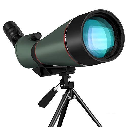KEXWAXX Longue Vue Tir Sportif Puissante Terrestre 25-75X 100mm Étanche Bak4 FMC Film Longue Vue Trepied & Adaptateur Smartphone Monoculaire Telescope Vert Foncé